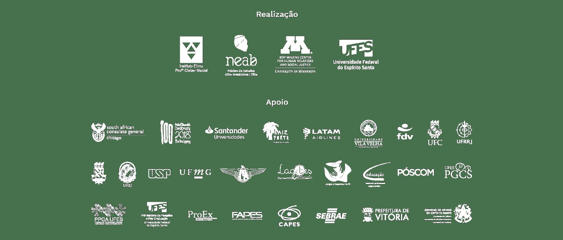 Marcas das instituições apoiadoras do evento